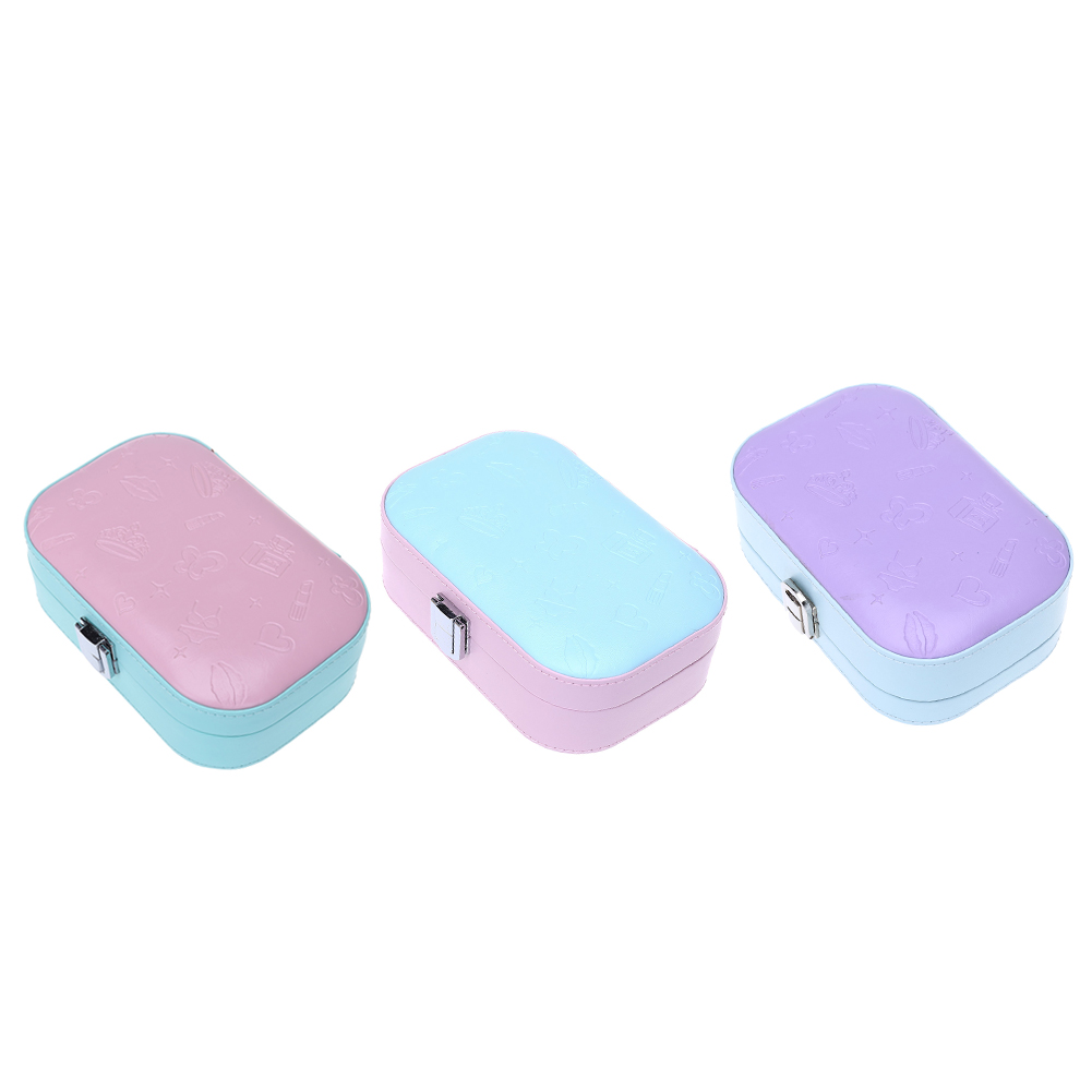 Colorful PU Leather Portable Jewelry Earrings Rings Necklace Bracelet Hair Clip Storage Box Jewelery Case Organizer