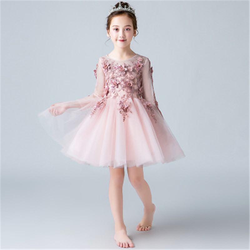 2019 New Kids Dresses For Girls Wedding Party Children Girls Lace Mesh Floral Tutu Princess Dress Baby Girl Clothes Vestido L253