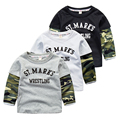 Baby boy camouflage T-shirt 2017 new spring boys leisure T-shirt printing letters long sleeved clothes