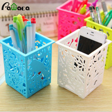 Multi-function Pen Holder Container Hollow Flower Pattern Design Home Office School Organizador Storage Box New Office Supply