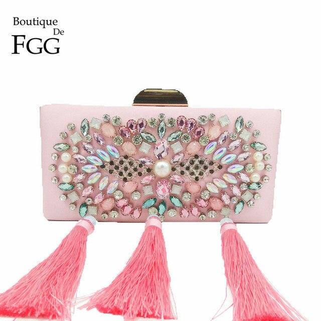 Boutique De FGG Elegant Pink Satin Women Tassel Evening Bag Metal Clutch  Handmade Beaded Crystal Wedding d3db1be6b7686