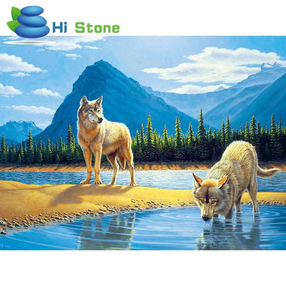 Diamond Вышивка два волка DIY 5D алмаз живопись животные крестом наборы для рукоделия полный Стразы украшения дома подарок