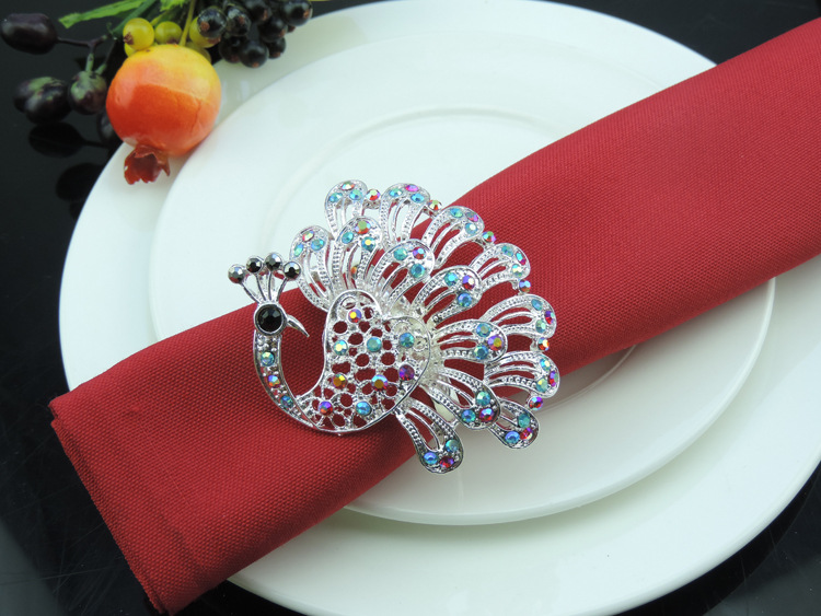 12PCS metal napkin buckle alloy peacock napkin ring mat towel ring home model room decoration gold silver in Napkin Rings from Home Garden