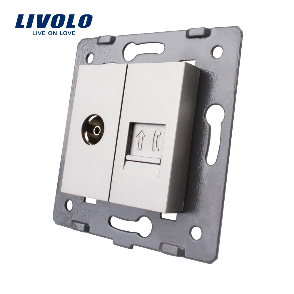 Manufacture Livolo, DIY Part, 2 Gangs Wall Tv And Tel Socket / Outlet ,Without Plug Adapter