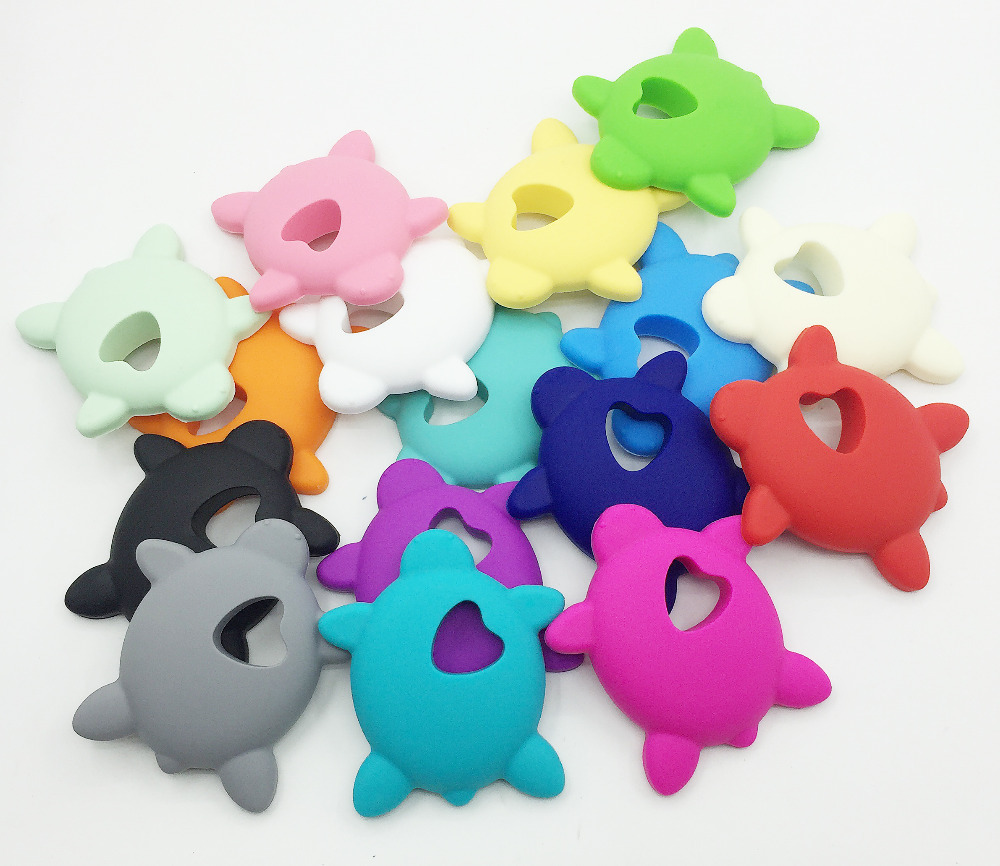 NEW 10pcs lot Very Large turtles Silicone Teething Chew Pendant or Teether Necklace pendant Free Shipping