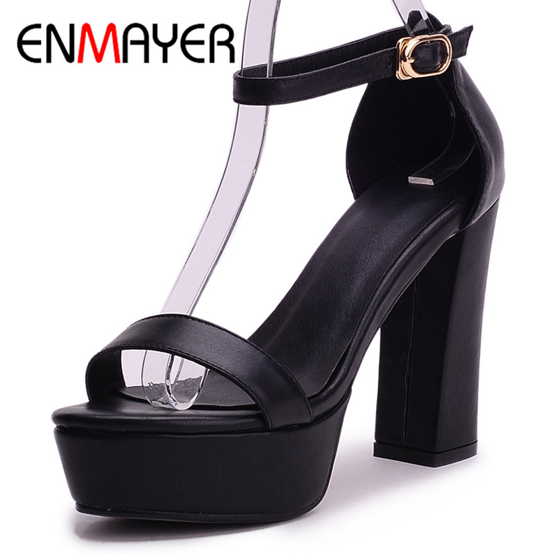ENMAYER Summer Women Fashion Sandals Pumps Shoes Ankle Strap Peep Toe Buckle Strap Square Heel Platform Large Size 34-42 Black xiaying smile new summer woman sandals shoes women pumps platform fashion casual square heel buckle strap open toe women shoes