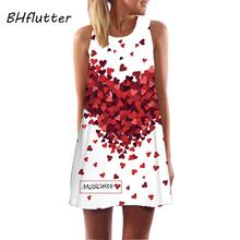 2016 New Style Summer Dress Sleeveless Floral Print Casual Women Dress Above Knee Mini Vestidos Plus
