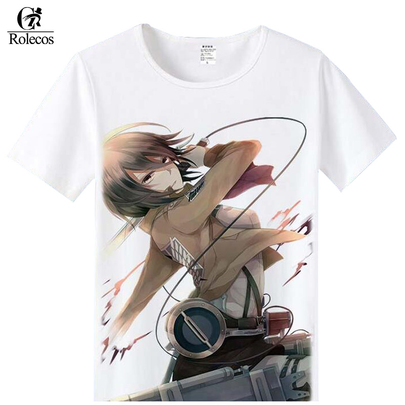 ROLEOCS Japanese Anime Attack on Titan Cosplay Costume Mikasa Ackerman Eren Jaeger Cosplay T-shirts Fashion Summer Cool Shirts