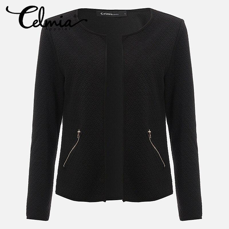 Размер 4xl celmia 2017 с длинным рукавом для женщин смарт-бизнес офис пак для ППШ осень-зима проверьте короткое пальто плюс размеры