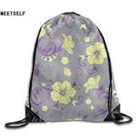 3D Print Jasmine Flower Pattern Shoulders Bag Women Fabric Backpack Girls Beam Port Drawstring Travel Shoes