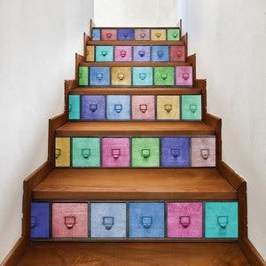 Image 2 - カラフルな引き出しモザイクブルーシーワールド黒、白靴階段の壁のステッカー DIY ステップステッカー壁デカール壁画壁紙 2019