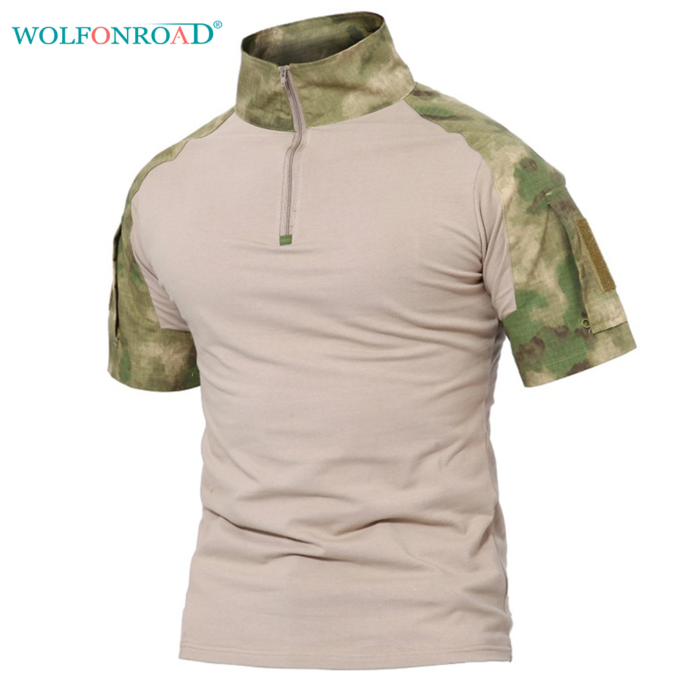 WOLFONROAD Men's T-shirt Outdoor Hiking T Shirt Military Tactical T-shirt Camouflage Shooting Tee Shirt Male Sport Hunting Shirt