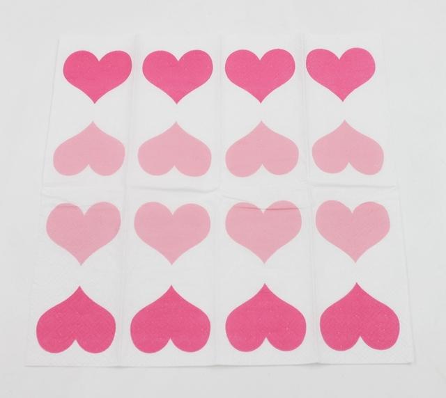 Pink Heart Printed Napkins