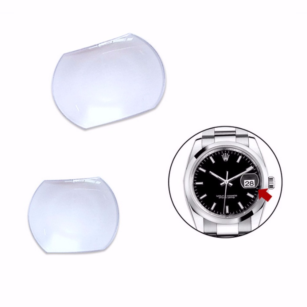 Shellhard 1pc Sapphire Bubble Magnifier Lens Suitable For Date Window High Transparency Watch Crystal Glass 7.0x5.5mm/5.5x4.5mm