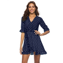 цены на Polka Dot Print Elagante Dress Summer Women Sexy V Neck Ruffles Short Mini Dresses Casual Beach Dress Vestidos  в интернет-магазинах