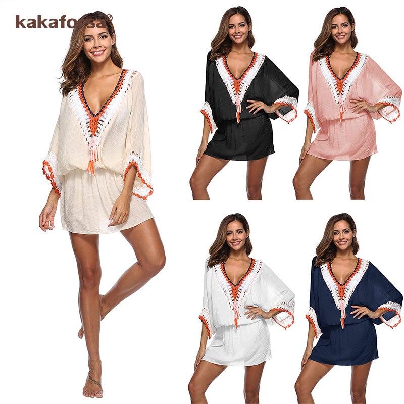 Kakaforsa Sexy Crochet Hollow Beach Cover Up Tassel Swimwear Cover Beachwear Bikini Beach Dress Knitted Bathing Suit Cover-Ups