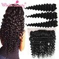 Wonder beauty bundles tecer cabelo brasileiro onda profunda virgem cabelo 3 pcs com 1 pcs brasileiro lace frontal closure13x4 orelha a ouvido