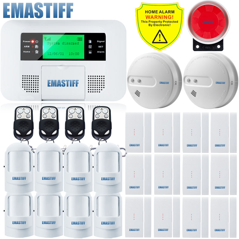 Free Shipping!GSM PSTN Alarm System Home Alarm systems&security for Home Security PIR Motion Sensor+smoke detector+NEW Door Gap  цены