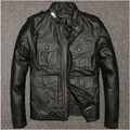 FREE SHIPPING 2017 Men M65 Leather Jacket Black Stand Collar Long Genuine Cowhide Plus Size 3XL Men Winter Safari Warm Jacket