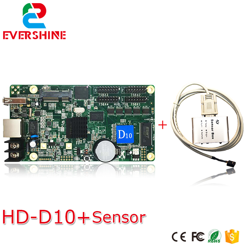 Led full color video display controller HuiDu  D10 asynchronous control card hd-d10 with sensor box bx 6q3 usb and ethernet port lintel full color led control card asynchronous video led sign controller 384 1024 512 768pixels