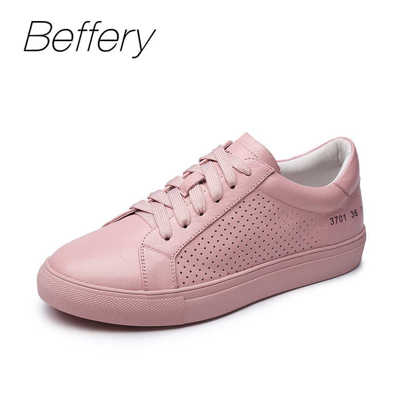 Beffery Women Shoes Cow Leather Sneakers Solid Color Casual Shoes Women Sneakers Flat Platform Shoes Spring Summer Winter Shoes beffery 2018 british style patent leather flat shoes fashion thick bottom platform shoes for women lace up casual shoes a18a309