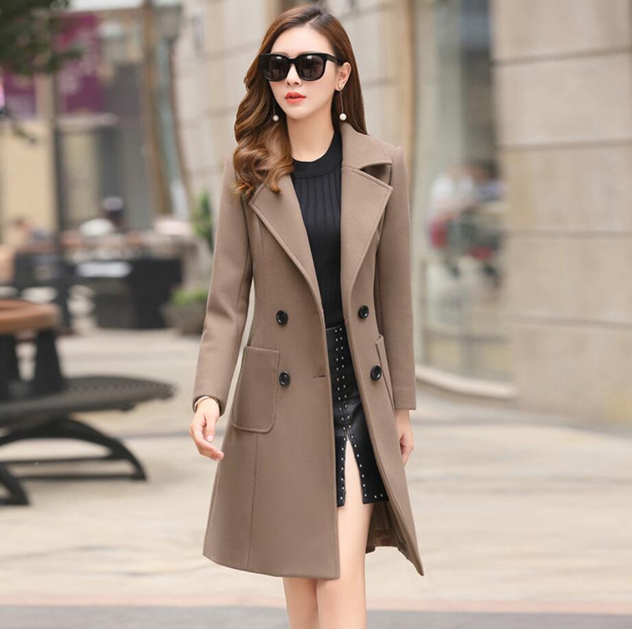 Laine Manteau de la Mode Féminine Haut de gamme Élégant Longue Mince automne Hiver de laine Manteaux et Vestes Plus La Taille Femininos 2XL r421