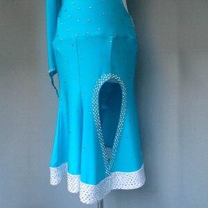 Image 3 - Nuovo stile di costumi di ballo latino sexy di alto livello spandex diamante maniche lunghe del vestito da ballo latino per le donne abiti da ballo latino S 4XL