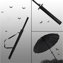 Ветрозащитный меч самурая японский ниндзя-как зонтик с длинной ручкой ребра уникальный солнечный и дождливый мужской ручной открыть закрыть Зонты