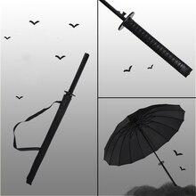 Windproof Samurai Sword Japanese Ninja-like Umbrella Long Handle Ribs Unique Sunny And Rainy Male Manual Open Close Umbrellas