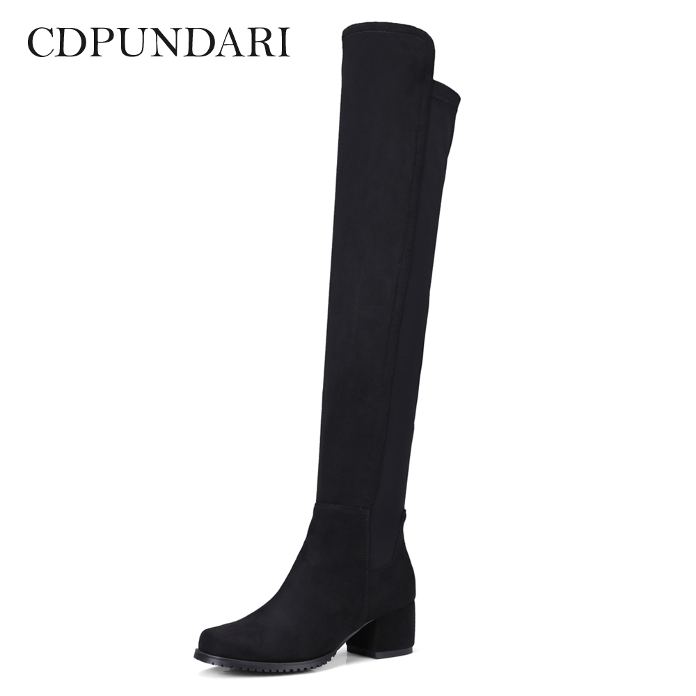 CDPUNDARI Stretch Fabric over the knee boots women thigh high boots Winter boots shoes woman women boots low heel knee high boots stretch fabric thigh high over the knee black boot ladies shoes d50