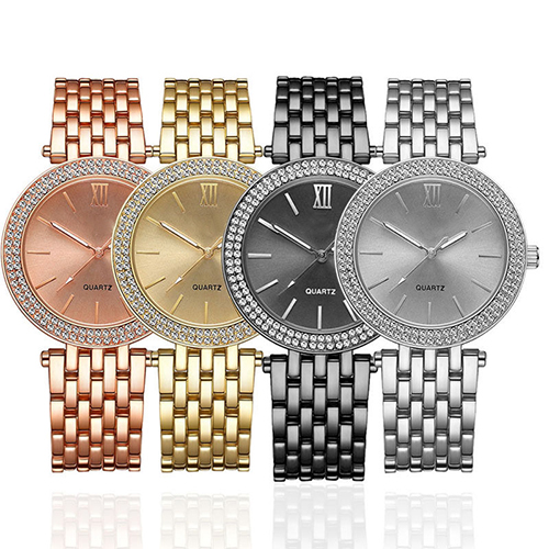 Luxury Fashion Jewelry Women Stainless Steel Rhinestone Quar