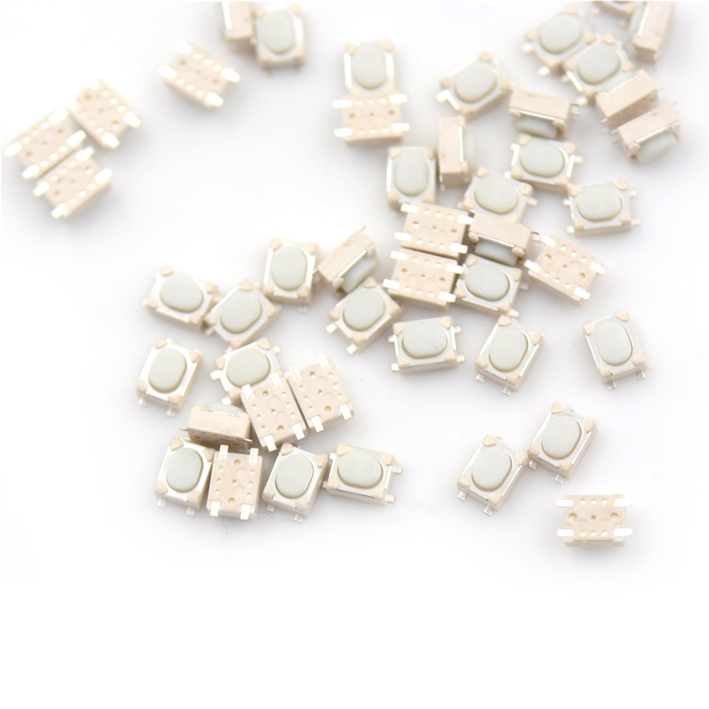 все цены на 50Pcs/lot SMD 4Pin 3*4*2.5mm White Tactile Tact Push Button Micro Switch Momentary онлайн
