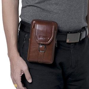 Image 1 - Retro Luxe Lederen Mobiele Telefoon Bag Voor Samsung Galaxy S8 S9 Plus S7 J Serie Echt Koeienhuid Portemonnee Case Voor iPhone 6 7 8 X