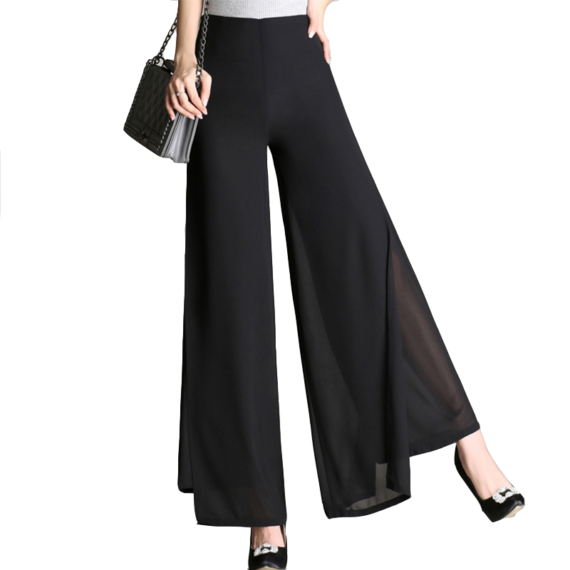 S-4XL Summer Chiffon Pants Women Wide Leg Pants Black High-waist Double-layer Chiffon Pants Elegant Woman Trousers Plus Size