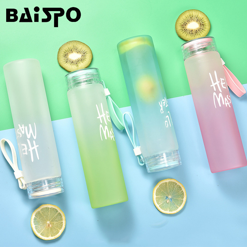 BAISPO Frosted Glass Fitness Water Bottle Healthy 400ml Container Summer Lemon Water Cup Drink Bottles For Outdoors Picnic-in Water Bottles from Home & Garden on AliExpress