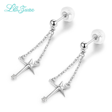 I&zuan 14K white gold earrings 0.015ct natural diamond setting drop earrings jewelry for women