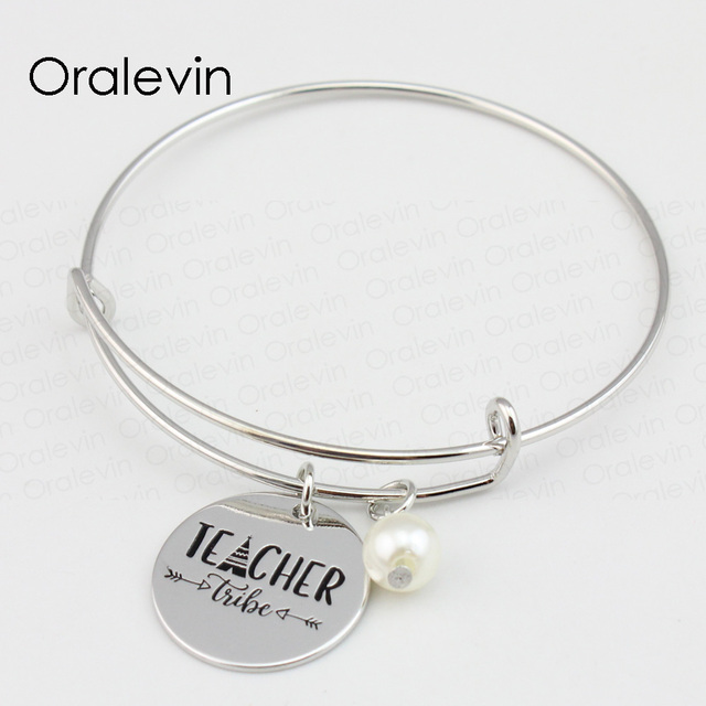 2160c2c4e50bd US $1.17 70% OFF|TEACHER TRIBE Inspirational Hand Stamped Engraved Custom  Round Pendent Charms Expandable Wire Bangle Gift Jewelry, #LN184B-in  Bangles ...
