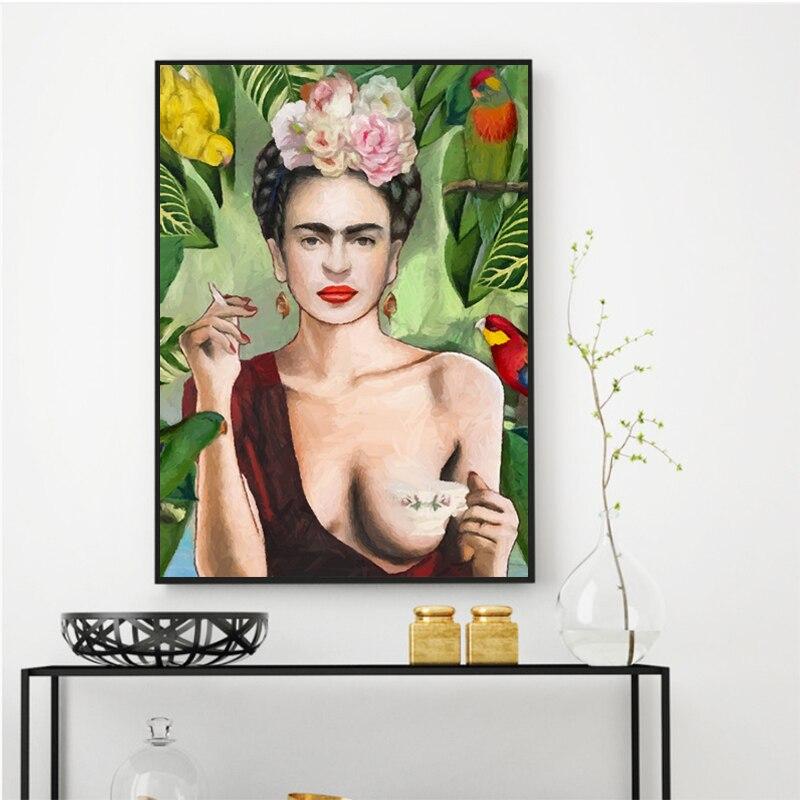 Frida Kahlo Portrait Mur Art Affiches et Gravures Toile Peinture Mur Photo pour Salon Création Décor