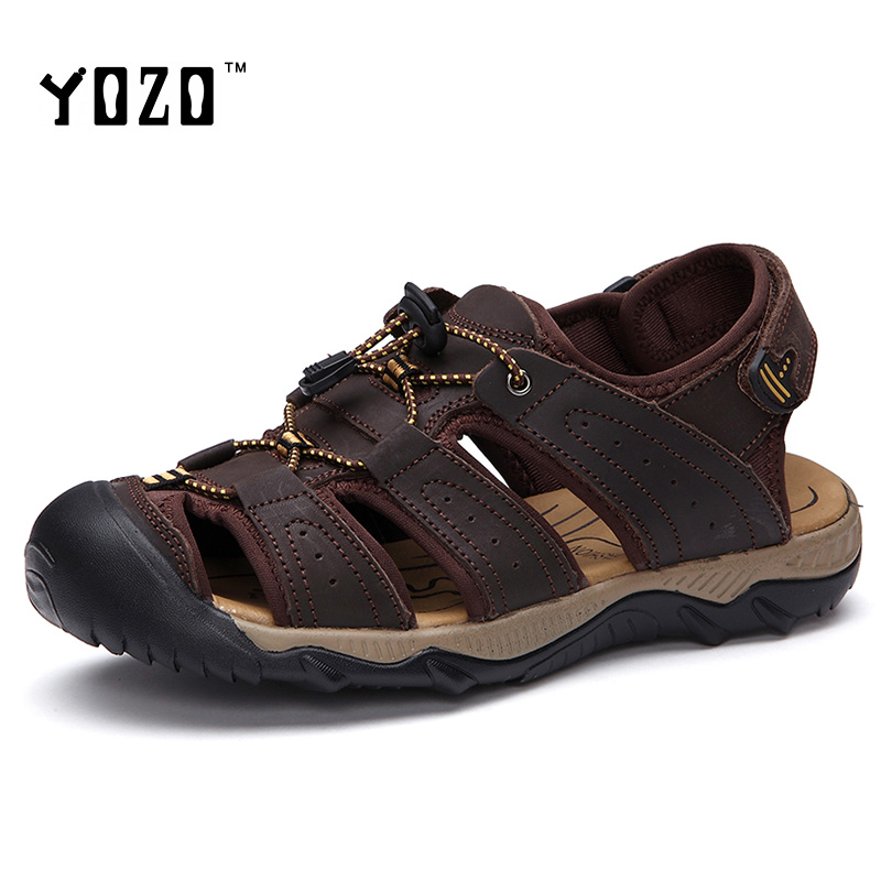 Men Sandals Genuine Leather Sandals Men Fashion Hook Loop Comfortable Leisure Brand Shoes Men Beach Sandals