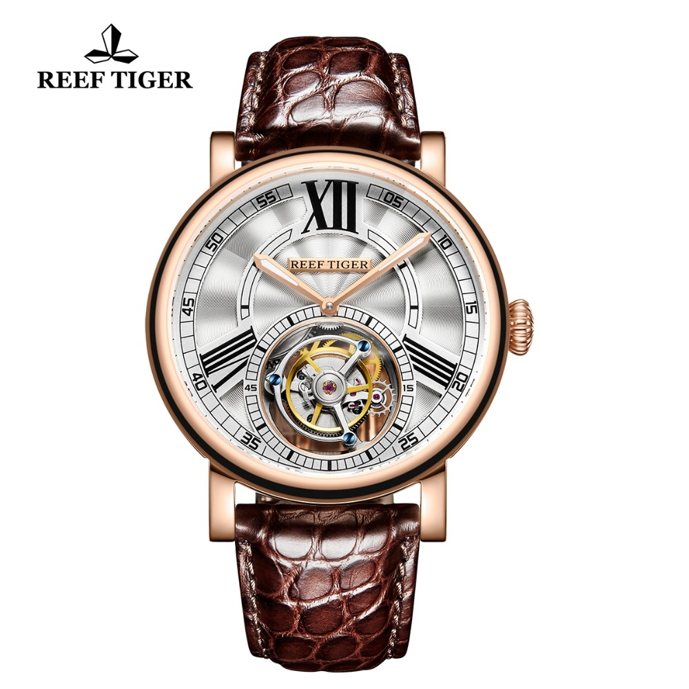 Reef Tiger Luxury Brand Casual Designer Watches Mens Alligator Sports Waterproof Tourbillon Automatic Mechanical Watch Clock Men