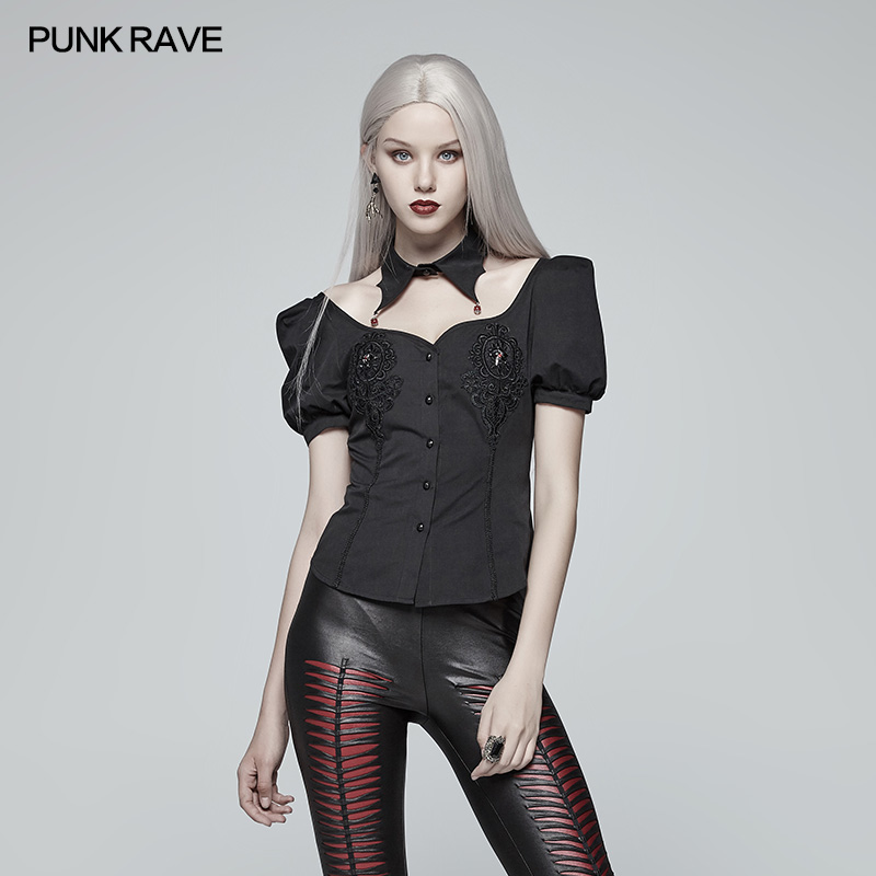 Punk Rave Women Shirts Gothic Blood Short Sleeve Casual Sexy Fashion Party Retro PersonalityTops for