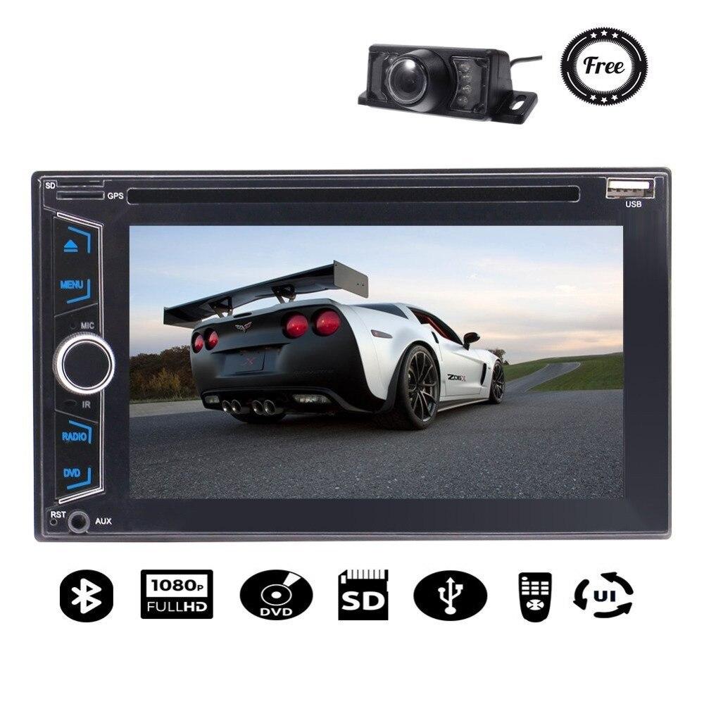 Caméra gratuite + 2 autoradio stéréo Bluetooth FM AM récepteur audio moniteur lecteur DVD prise en charge USB SD Headunit véhicule automobile
