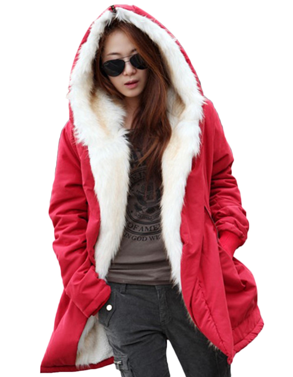 Women Lady Hooded Long Coat Fleece Warm Thick Casual Outerwear Stylish High Quality
