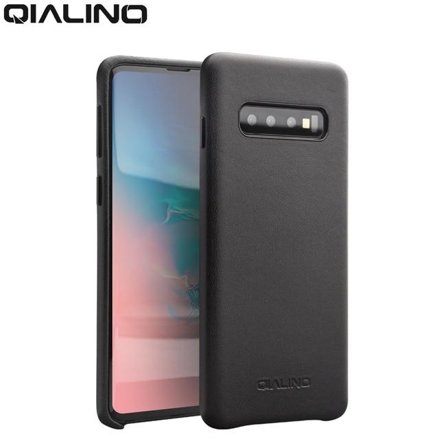 QIALINO moda prawdziwy skórzany tył pokrywa dla Samsung Galaxy S10 6.1 cali luksusowe ręcznie etui na telefony dla S10 Plus 6.4 cali