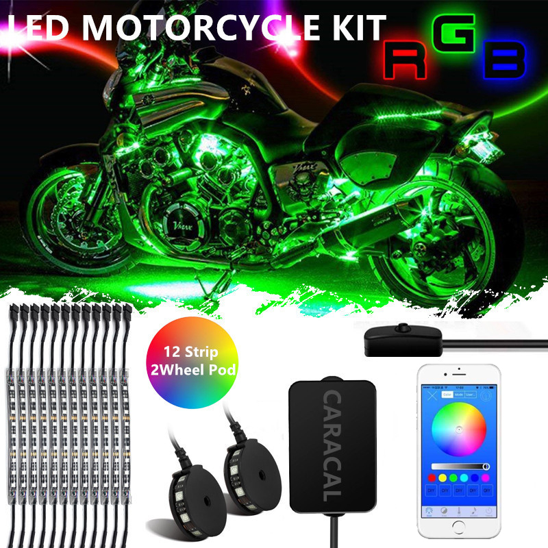 CARACAL14pcs Lights Flash to Music Bluetooth Motorcycle LED Strip Kit Neon Glow Body Frame Bluetooth App controlCARACAL14pcs Lights Flash to Music Bluetooth Motorcycle LED Strip Kit Neon Glow Body Frame Bluetooth App control