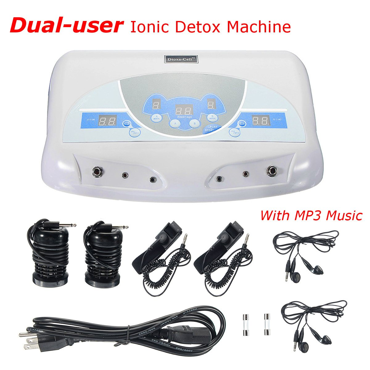 Dual-user Ionic Detox Machine Foot Bath Spa Tool LCD w/ MP3 Music Cleanse Salon