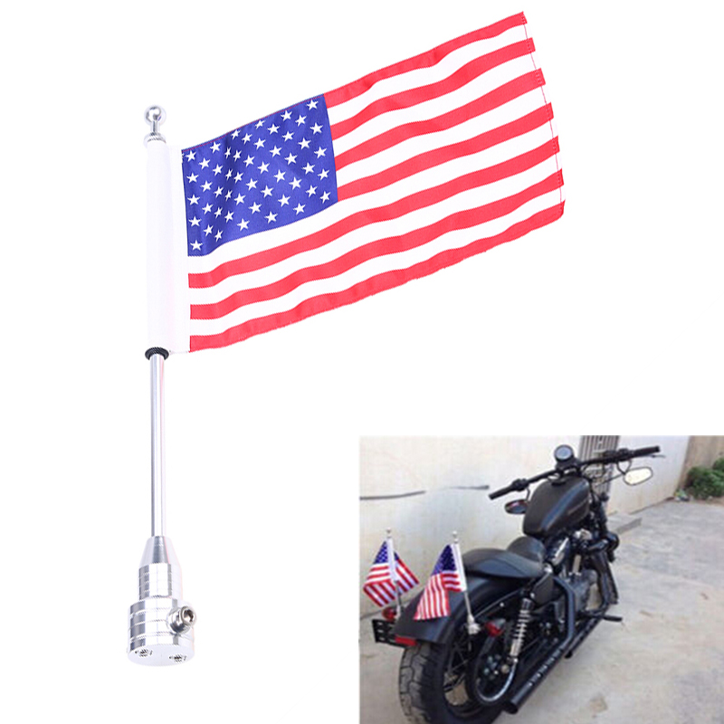 Motorcycle Rear Flag Pole Luggage Rack Mount USA for Harley Touring Road King