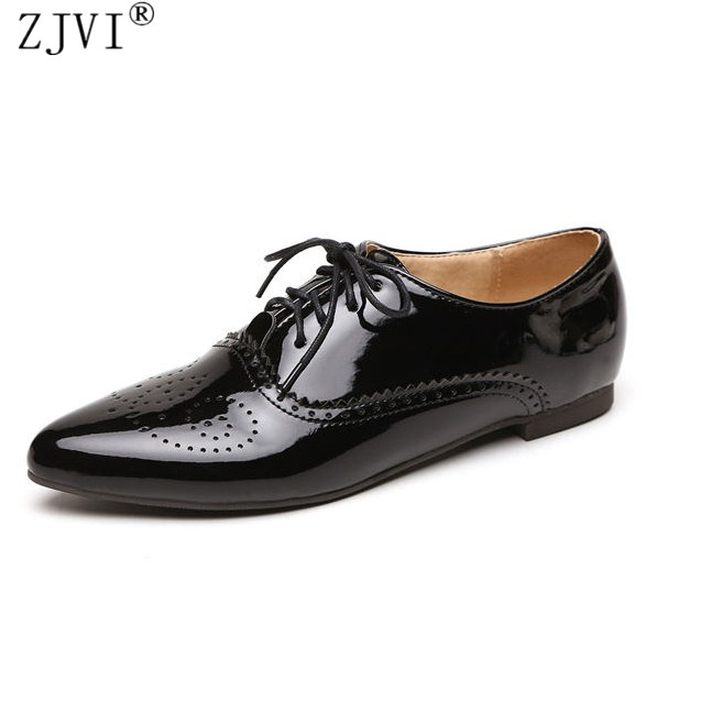 ZJVI Women lace up flats 2018 spring summer patent PU flat shoes ladies woman pointed toe women's cut outs work casual shoes padegao brand spring women pu platform shoes woman brogue patent leather flats lace up footwear female casual shoes for women