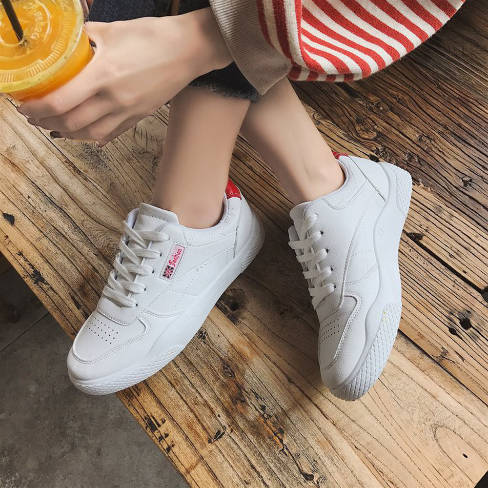 Women's Solid Color Lace Flat Waterproof Fashion Casual Shoes Outdoor Fitness Running Shoes Waterproof Breathable Wear