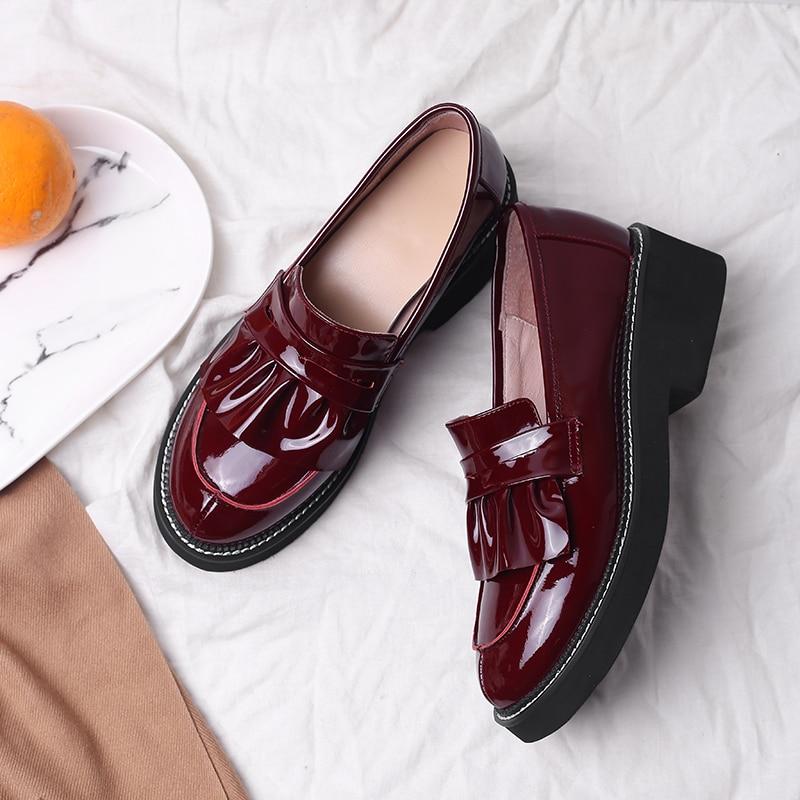Estudiante on Botas Genuino Red Cómodo Casuales Black De wine Las Mocasines Slip Zapatos Calidad Ocio Punk Alta Cuero Mujeres Venta Planos rXq67fX